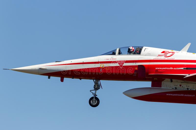 Northrop F-5E fighter aircraft from the Swiss Air Force formation display team Patrouille Suisse. stock image
