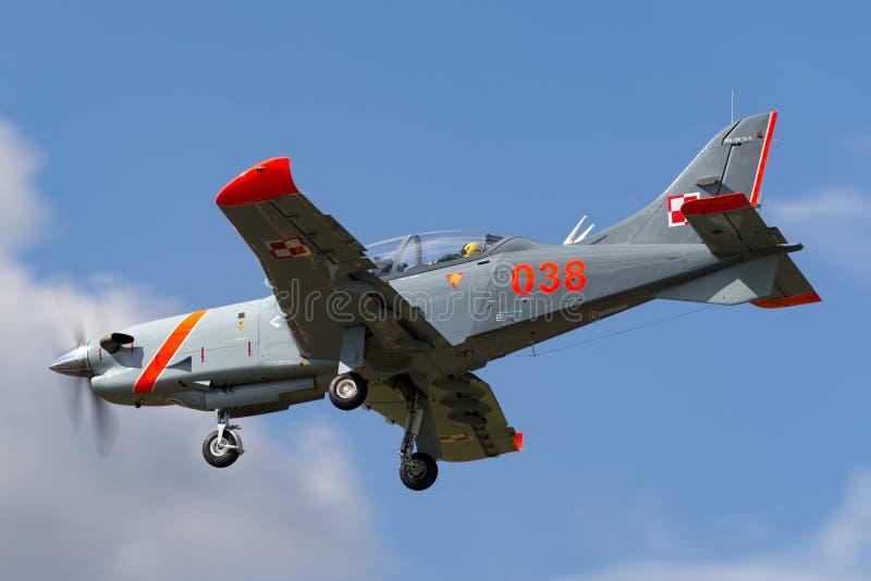 Polish Air Force PZL-Okecie PZL-130 TC-1 Orlik turboprop, single engine, two seat trainer aircraft. RAF Fairford, Gloucestershire, UK - July 11, 2014: Polish royalty free stock photo