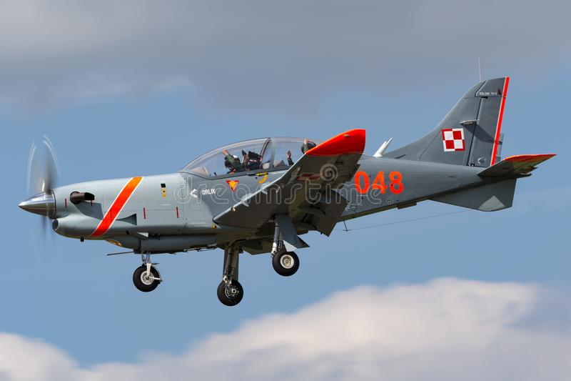 Polish Air Force PZL-Okecie PZL-130 TC-1 Orlik turboprop, single engine, two seat trainer aircraft. RAF Fairford, Gloucestershire, UK - July 11, 2014: Polish royalty free stock photography
