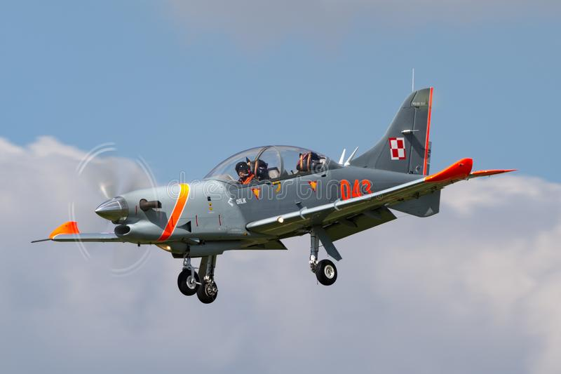 Polish Air Force PZL-Okecie PZL-130 TC-1 Orlik turboprop, single engine, two seat trainer aircraft. RAF Fairford, Gloucestershire, UK - July 11, 2014: Polish royalty free stock photos