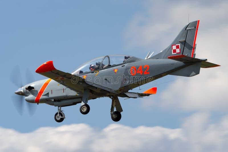 Polish Air Force PZL-Okecie PZL-130 TC-1 Orlik turboprop, single engine, two seat trainer aircraft. RAF Fairford, Gloucestershire, UK - July 11, 2014: Polish stock photo