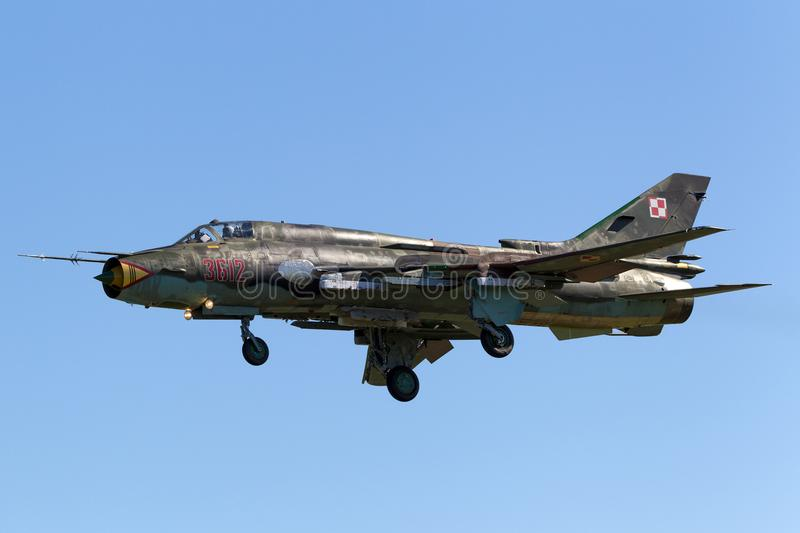 Polish Air Force Sily Powietrzne Sukhoi Su-22 Fitter attack aircraft. stock images