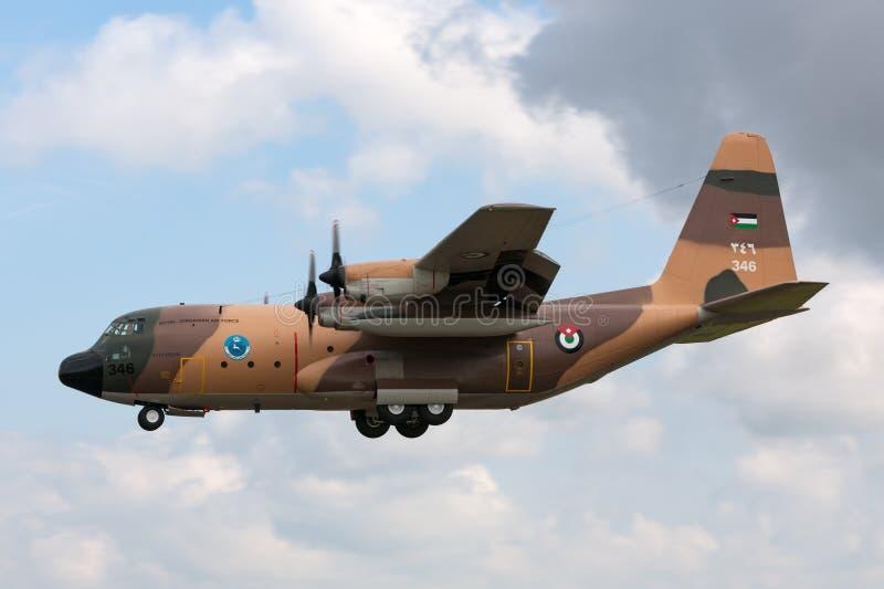 Royal Jordanian Air Force Lockheed C-130H Hercules military transport aircraft. stock images