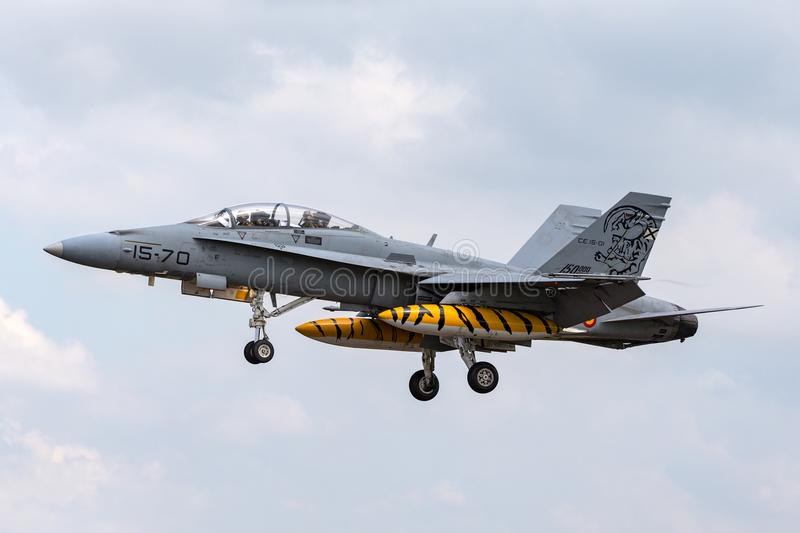 Spanish Air Force Ejercito del Aire McDonnell Douglas EF-18B Hornet multi-role fighter aircraft CE15-01. RAF Fairford, Gloucestershire, UK - July 9, 2014 stock photography