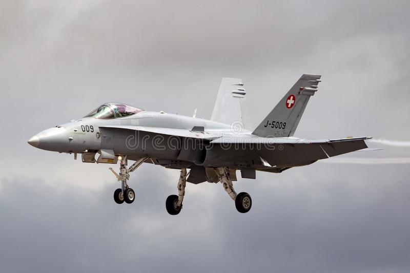 Swiss Air Force McDonnell Douglas F/A-18C Hornet Fighter aircraft J-5009. RAF Fairford, Gloucestershire, UK - July 13, 2014: Swiss Air Force McDonnell Douglas F stock photo