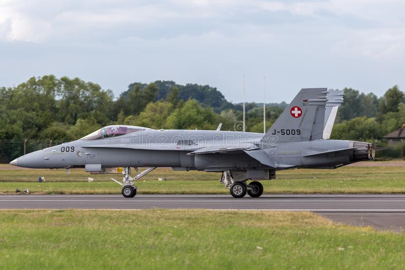 Swiss Air Force McDonnell Douglas F/A-18C Hornet Fighter aircraft J-5009. RAF Fairford, Gloucestershire, UK - July 13, 2014: Swiss Air Force McDonnell Douglas F stock photography
