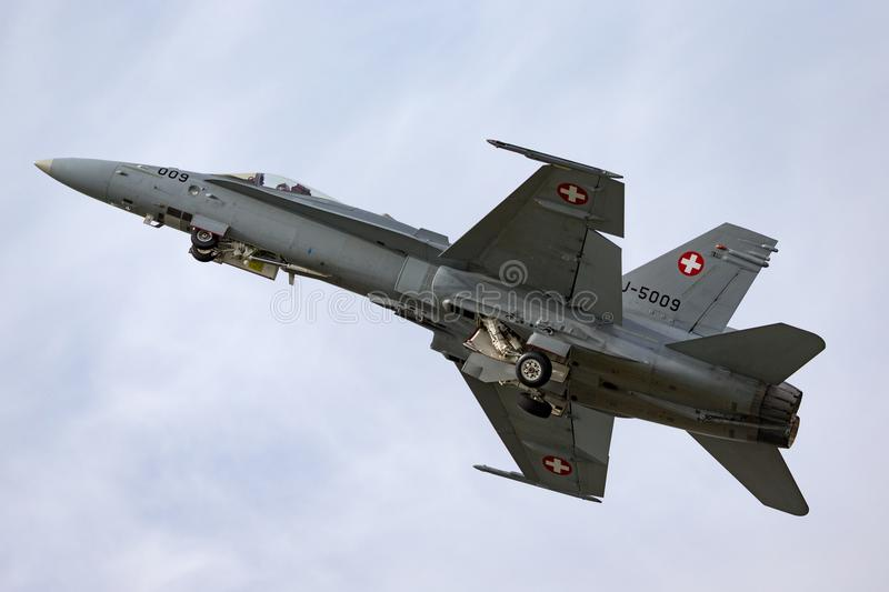Swiss Air Force McDonnell Douglas F/A-18C Hornet Fighter aircraft J-5009. RAF Fairford, Gloucestershire, UK - July 13, 2014: Swiss Air Force McDonnell Douglas F stock image