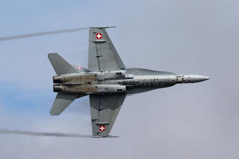 Swiss Air Force McDonnell Douglas F/A-18C Hornet Fighter aircraft J-5009. RAF Fairford, Gloucestershire, UK - July 13, 2014: Swiss Air Force McDonnell Douglas F royalty free stock photo