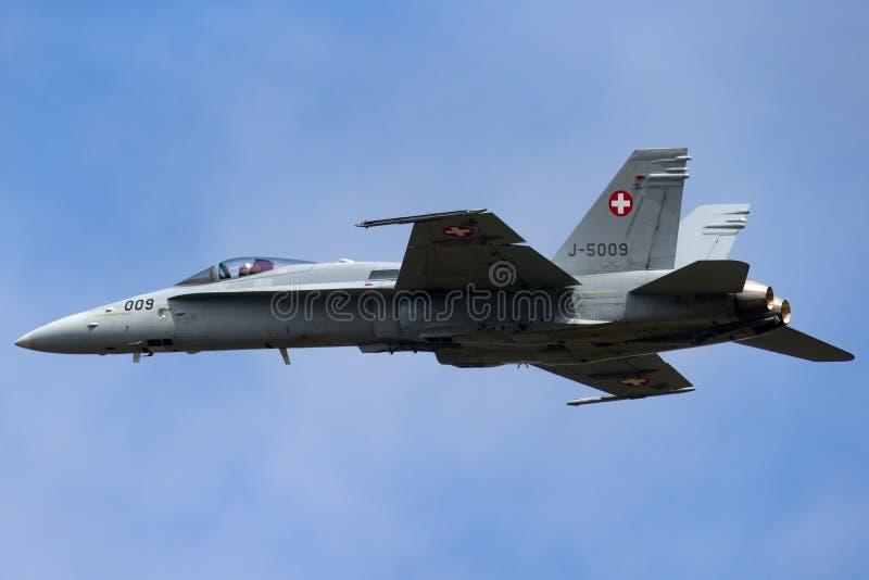 Swiss Air Force McDonnell Douglas F/A-18C Hornet Fighter aircraft J-5009. RAF Fairford, Gloucestershire, UK - July 13, 2014: Swiss Air Force McDonnell Douglas F stock photos