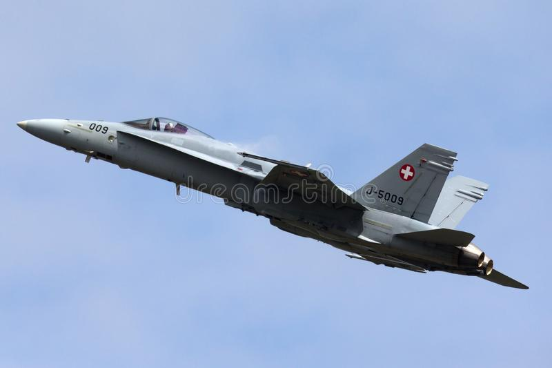 Swiss Air Force McDonnell Douglas F/A-18C Hornet Fighter aircraft J-5009. RAF Fairford, Gloucestershire, UK - July 13, 2014: Swiss Air Force McDonnell Douglas F stock images