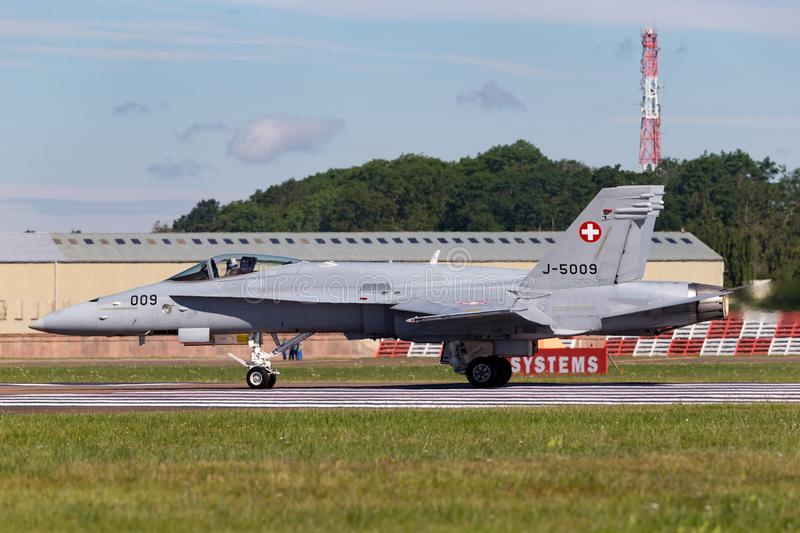 Swiss Air Force McDonnell Douglas F/A-18C Hornet Fighter aircraft J-5009. RAF Fairford, Gloucestershire, UK - July 13, 2014: Swiss Air Force McDonnell Douglas F royalty free stock image