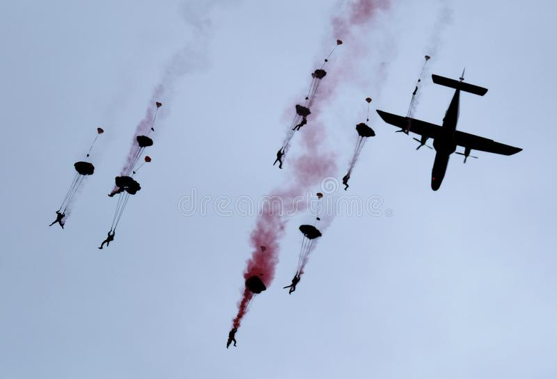 The RAF freefall parachute display team, The Falcons. royalty free stock photos