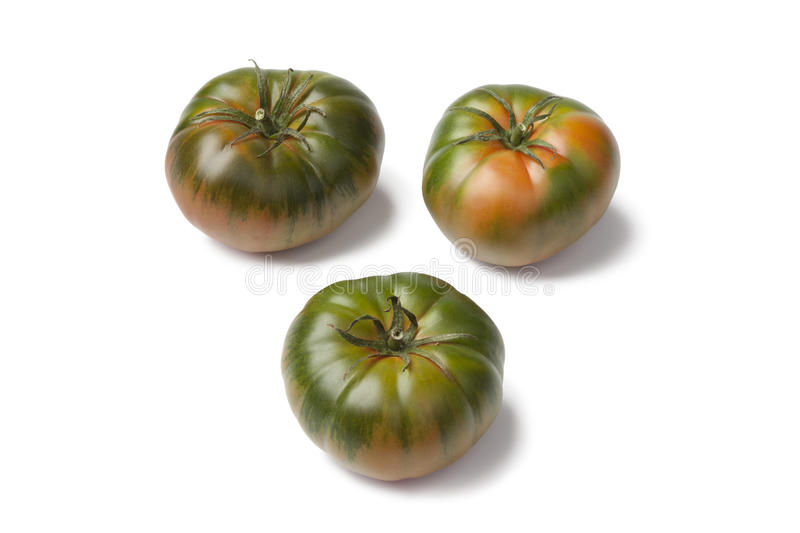 RAF heirloom tomatoes. On white background royalty free stock images