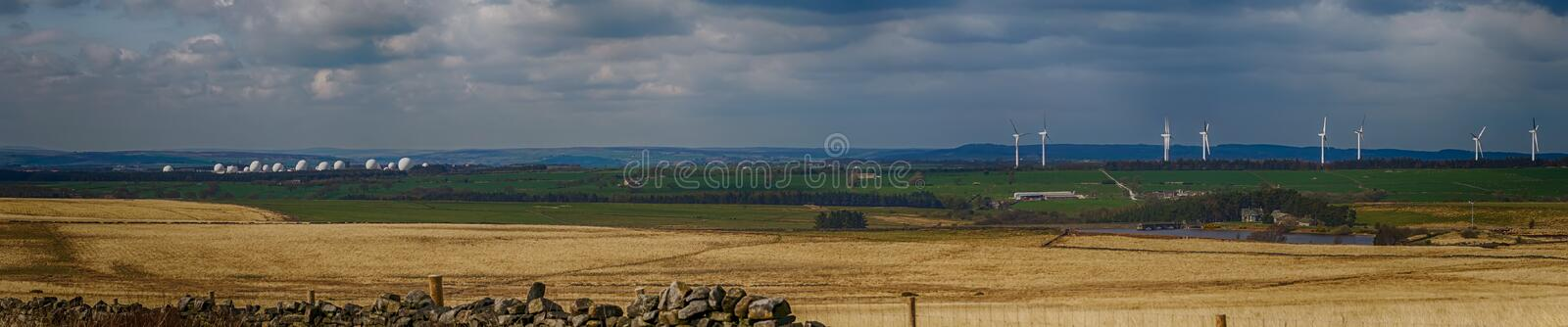RAF Menwith Hill, Wind farm and Scargill Reservoir on the North Yorkshire Dales. England, United Kingdom royalty free stock image