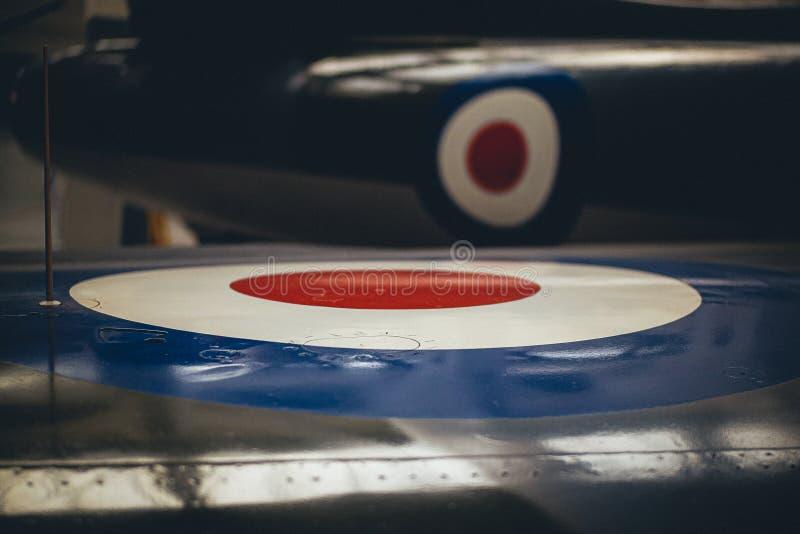 RAF Plane wing British Target Logo Blue White fotografia royalty free