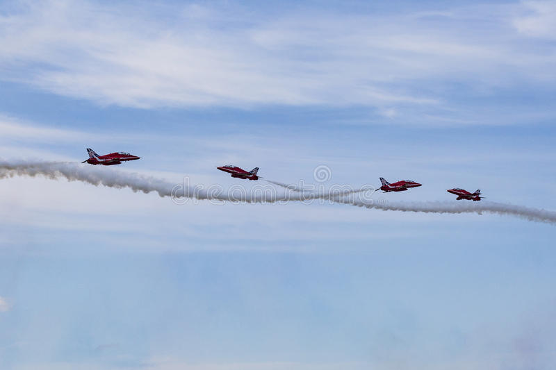 RAF Red Arrows in BAE Hawk T1 trainers royalty free stock image