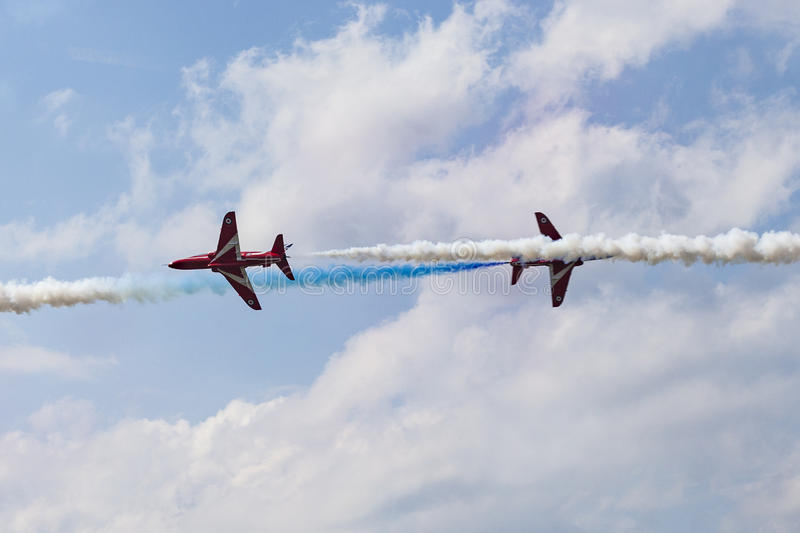 RAF Red Arrows in BAE Hawk T1 trainers stock photography
