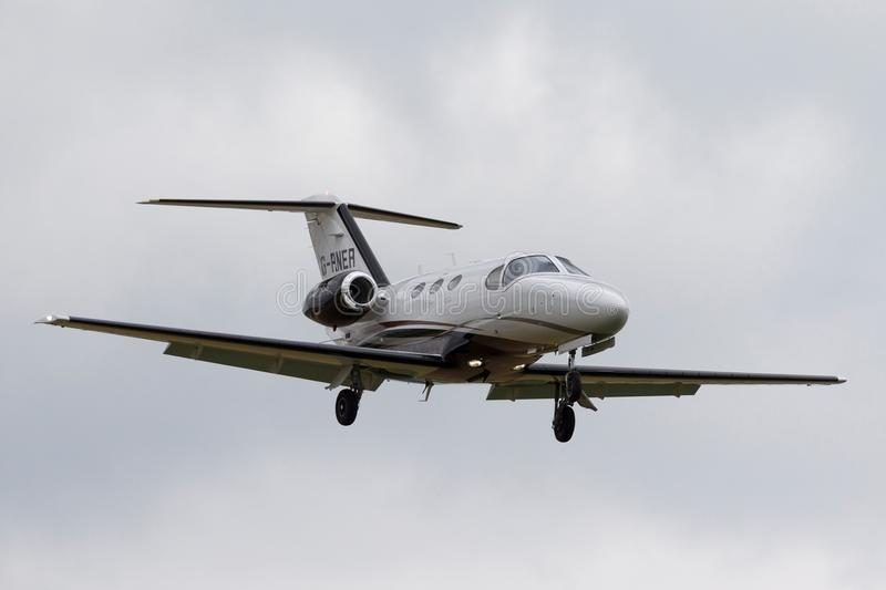 Cessna 510 Citation Mustang light business jet airplane G-RNER on approach to land. stock image