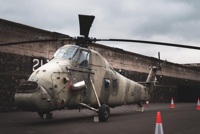 RAF Wessex-helikopter - in Aldergrove nu in Crumlin-Road Doelmuseum Belfast wordt geplaatst, Ierland, het UK dat stock fotografie