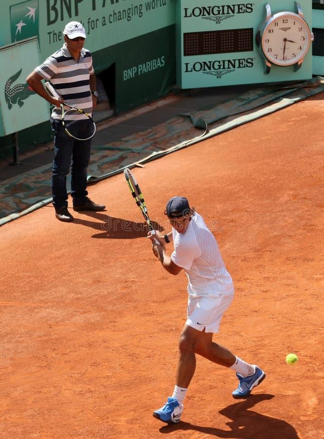 Rafaël et Nadal élégant (EN PARTICULIER) chez Roland Garros 2011 images libres de droits