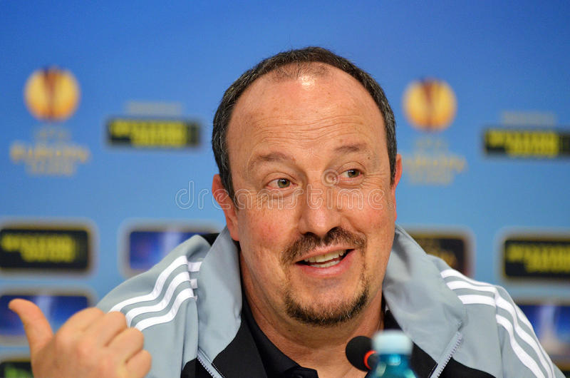 Rafa Benitez of Chelsea Press Conference. Former manager of Chelsea London, Rafa Benitez, pictured during press conference held before the Europa League game stock photo