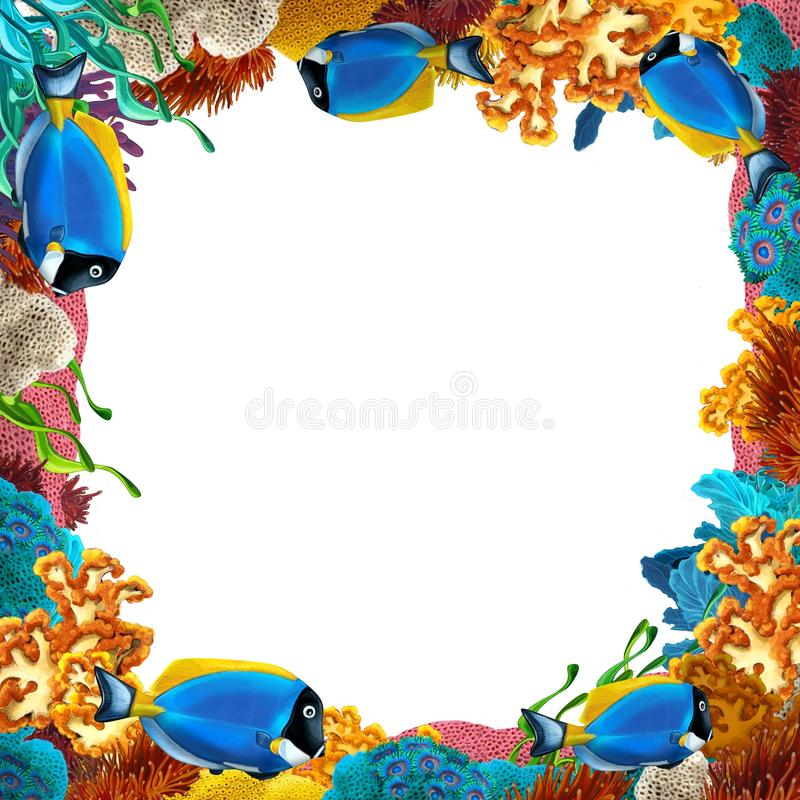 Rafa koralowa granica - ilustracja dla dzieci - rama - royalty ilustracja