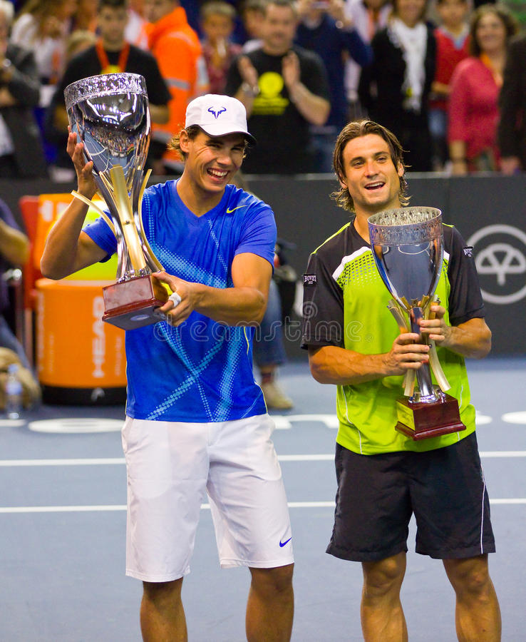 Rafa Nadal et David Ferrer photographie stock