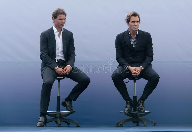 Rafa Nadal et Roger Federer image libre de droits