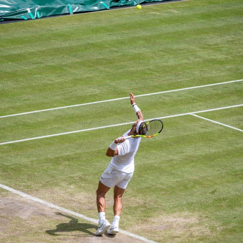 Rafa Nadal på Wimbledon arkivbild