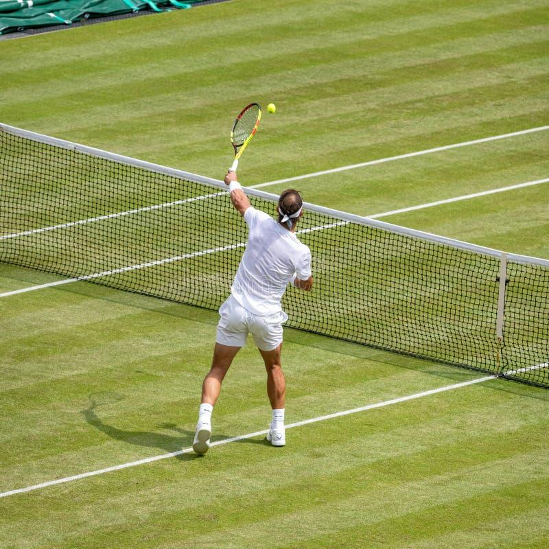 Rafa Nadal på Wimbledon arkivbilder
