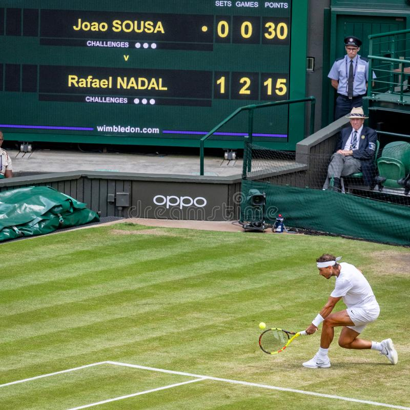 Rafa Nadal på Wimbledon royaltyfri bild