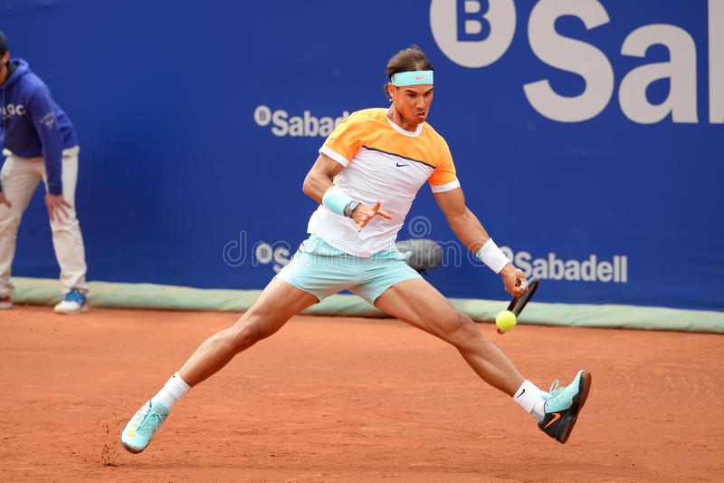 Rafa Nadal (Spanish tennis player) plays at the ATP Barcelona Open Banc Sabadell royalty free stock photos