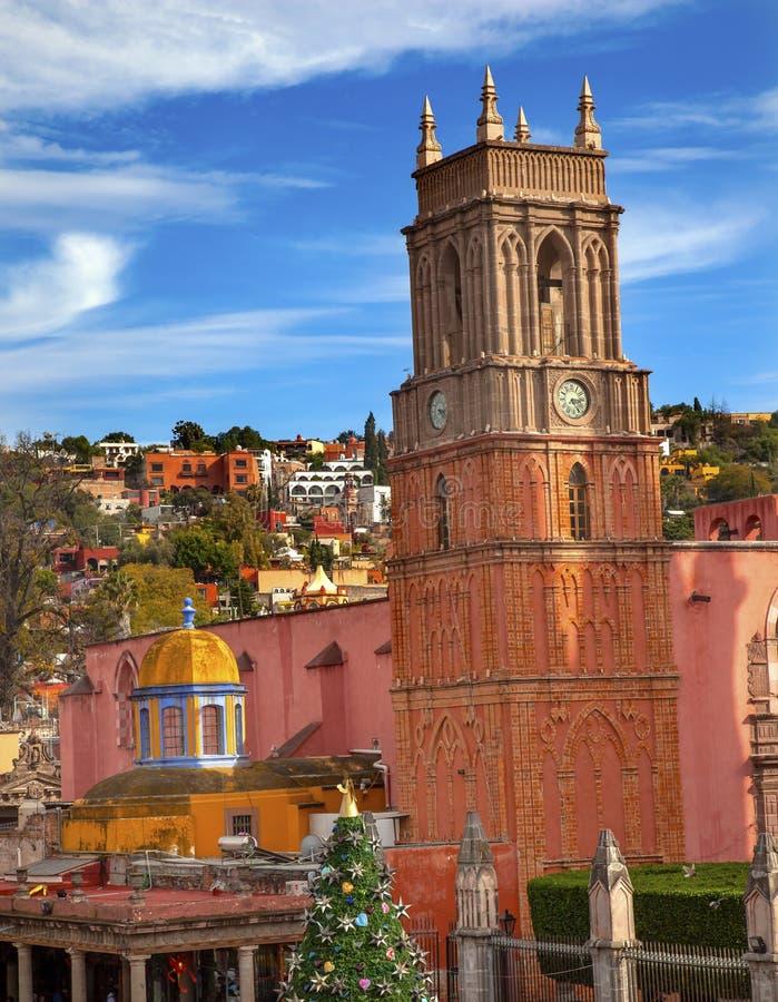 Rafael Church Jardin San Miguel de Allende Mexico arkivbilder