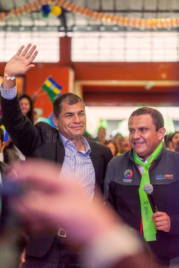 Rafael Correa, le Président Of Equateur avec Mayer de Banos photo libre de droits
