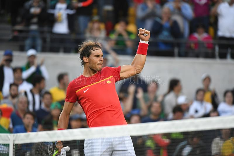 Rafael Nadal που παίζει την αντισφαίριση στοκ φωτογραφίες με δικαίωμα ελεύθερης χρήσης