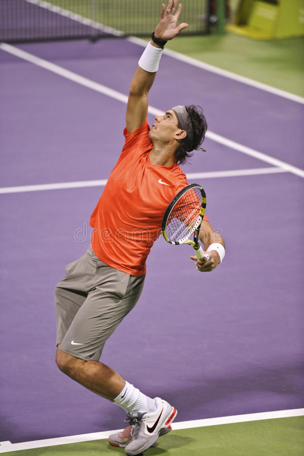 Rafael Nadal at the ATP Tennis. Rafael Nadal in action during the January 2011 ATP Mens Open in Doha, Qatar stock photos