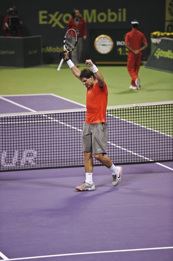 Rafael Nadal au tennis de triphosphate d'adénosine images libres de droits