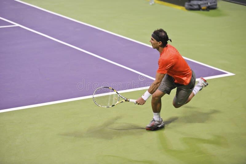 Rafael Nadal bij het ATP Tennis stock afbeeldingen