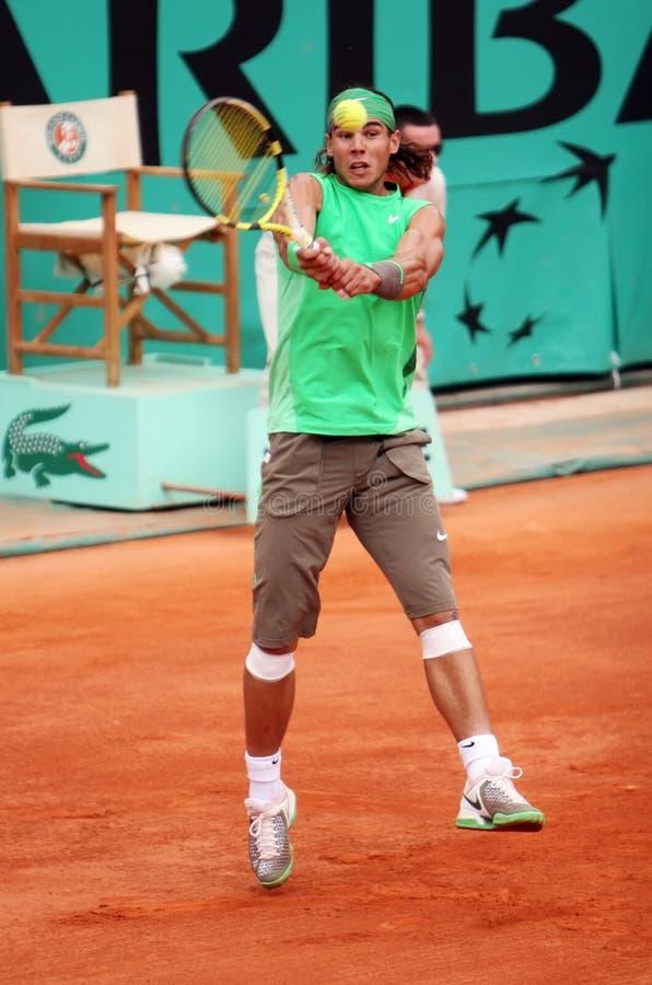 Rafael Nadal de l'Espagne chez Roland Garros 2008 images stock