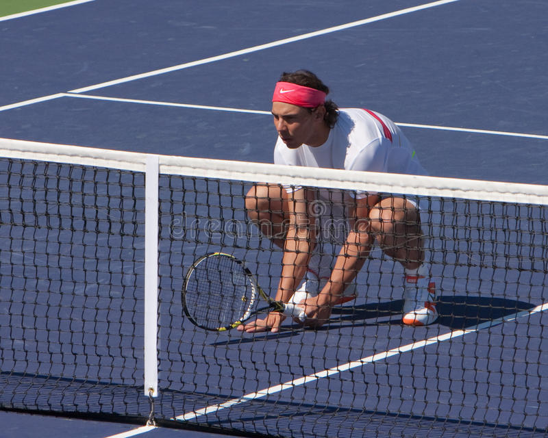Rafael Nadal doubles ready. Spain's Rafael Nadal in the ready position as a doubles player at the 2010 BNP Paribas Open tennis tournament royalty free stock photos
