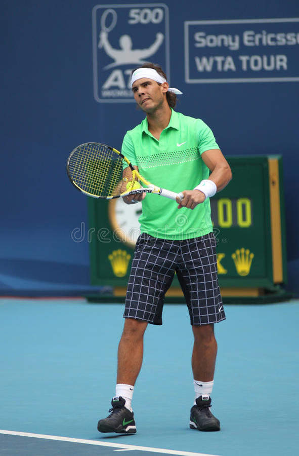 Rafael Nadal (ESP), professional tennis player. Rafael Nadal (ESP) during second round match against James Blake (USA) at the National Tennis Center in Beijing stock photography