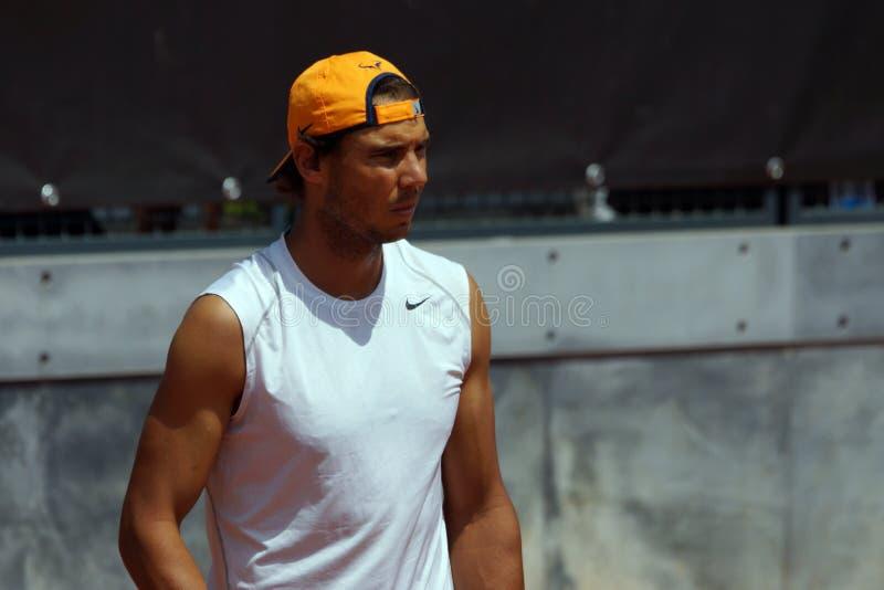 Rafael Nadal (ESP). ROME, ITALY - MAY 10, 2016: Rafael Nadal (ESP) during practice at the Internazionali BNL d'Italia in Rome, Italy royalty free stock image