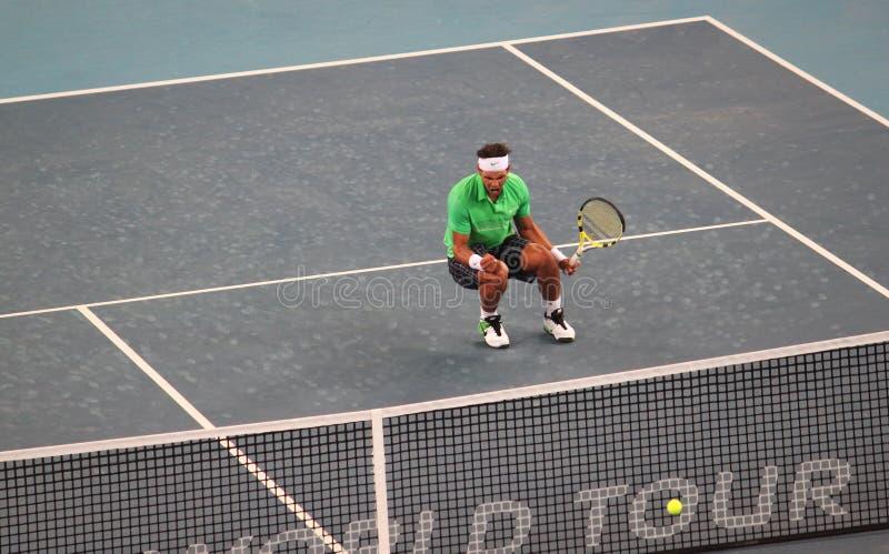 Rafael Nadal (ESPECIALMENTE) celebra la victoria foto de archivo libre de regalías