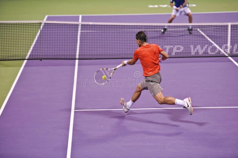 Rafael Nadal no tênis do ATP foto de stock