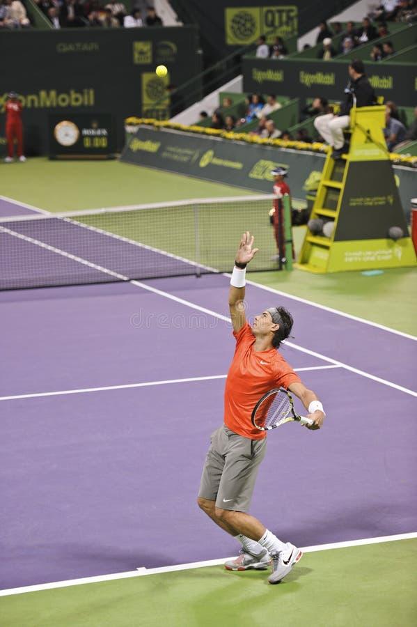 Rafael Nadal no tênis do ATP fotografia de stock royalty free