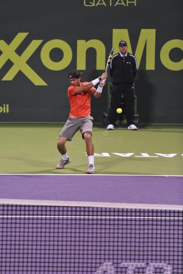 Rafael Nadal no tênis do ATP imagens de stock royalty free