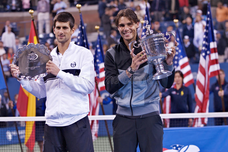 Rafael Nadal and Novak Djokovic 2010 US Open. 2010 US Open Mens' Singles finalists Novak Djokovic (SRB) & Rafael Nadal (ESP stock photo