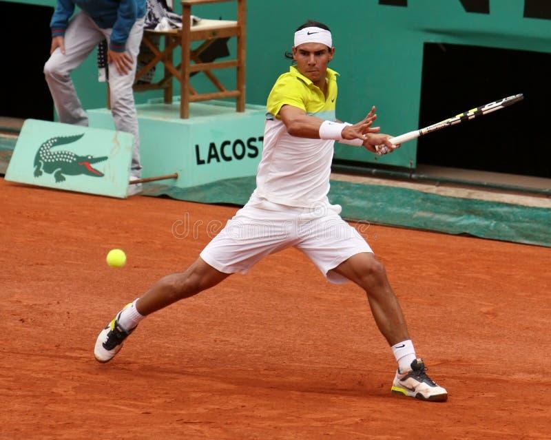 Rafael Nadal a Roland Garros 2009 fotografie stock libere da diritti