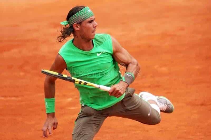 Rafael Nadal van Spanje in Roland Garros royalty-vrije stock foto's