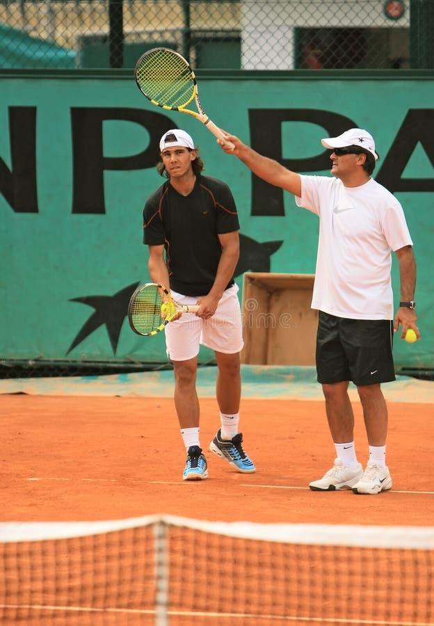 Rafael Nadal y Tony Nadal imágenes de archivo libres de regalías